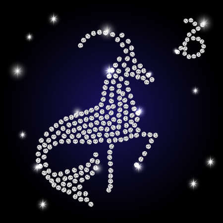 white outline of capricorn are on black background. Vector illustration