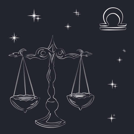 Sign of the zodiac Libra is the starry sky, vector Illustration. Contour icon.