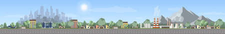 Illustration pour Vector of urban landscape with empty highway, with industry zone over mountain landscape, Panoramic cartoon, modern cityscape over green trees and blue sky. - image libre de droit
