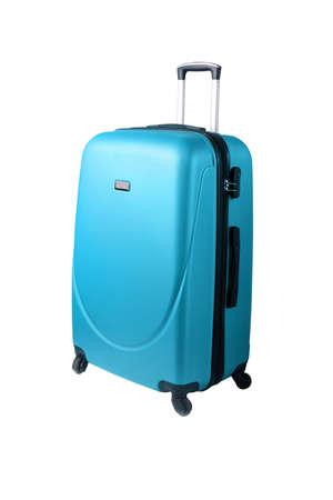 Photo pour blue suitcase isolated on white background - image libre de droit