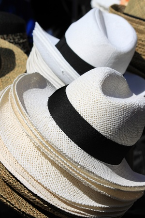Panama hats sold in a market stall