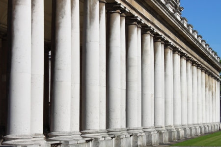 Royal Naval College colonnade in Greenwich. London, UK