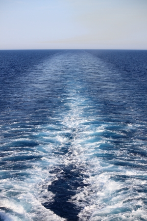Wake of a cruise ship on the open ocean