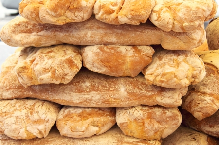 Stack of various kind of fresh bread