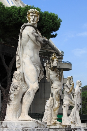 Statues in the Stadium of the Marbles in Rome, Italy