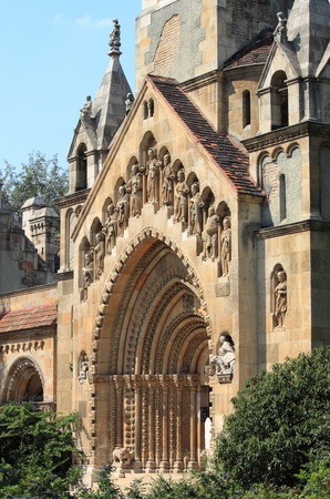 Budapest, Hungary - July 1, 2012: Facade of Jak Church in the Vajdahunyad Castle
