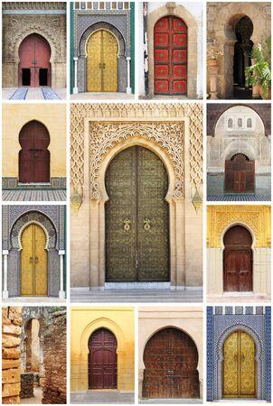 Photo pour Collage of arabic oriental styled doors - image libre de droit