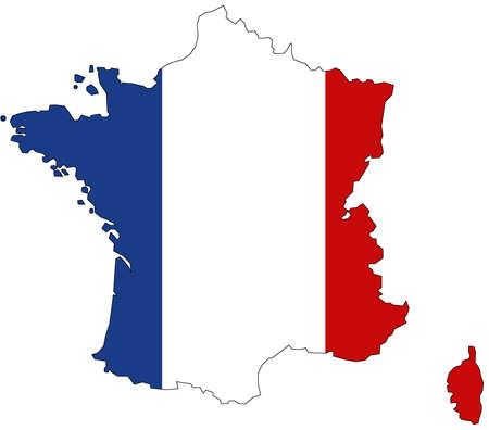 Photo pour Map of France with official flag colors - image libre de droit