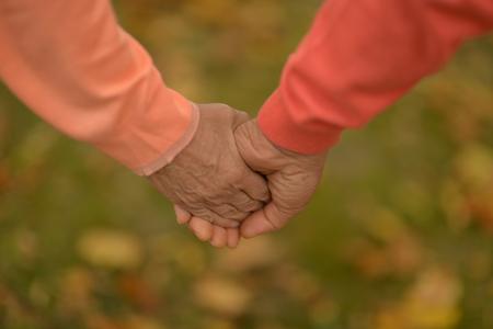 Photo pour Elderly couple holding hands in autumn park - image libre de droit