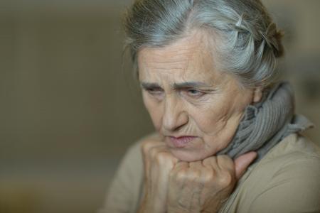 Foto für Portrait of a sad aged woman close-up - Lizenzfreies Bild