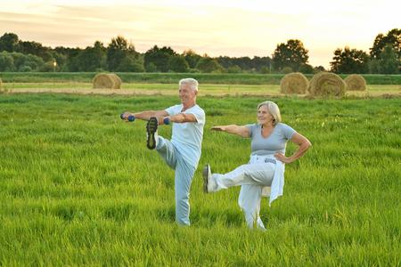 Photo for senior couple doing exercises - Royalty Free Image