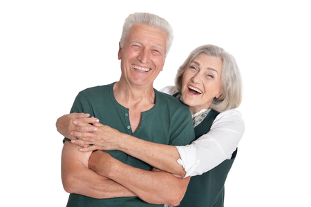 Photo for Portrait of happy senior couple posing on white background - Royalty Free Image