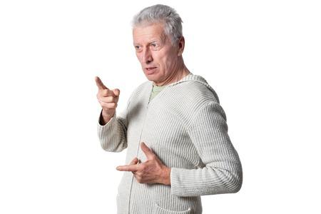 Photo for Portrait of senior man posing on white background - Royalty Free Image