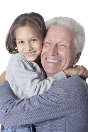 Photo pour Happy grandfather and granddaughter isolated on white background - image libre de droit