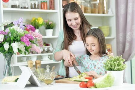 Photo pour Smiling pregnant mother and daughter cooking together at kitchen - image libre de droit