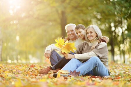 Photo for Portrait of happy grandfather, grandmother and grandson - Royalty Free Image
