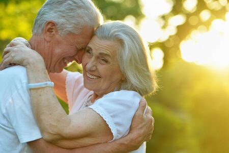 Photo for Portrait of beautiful senior couple in the park - Royalty Free Image