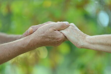 Photo for Couple holding hands together on the background of greenery - Royalty Free Image