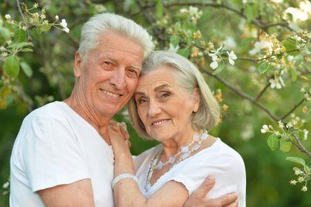 Photo pour Portrait of beautiful senior couple posing in the park - image libre de droit