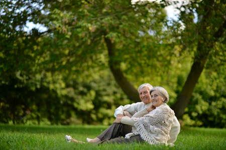 Photo pour Portrait of happy senior couple sitting in park - image libre de droit
