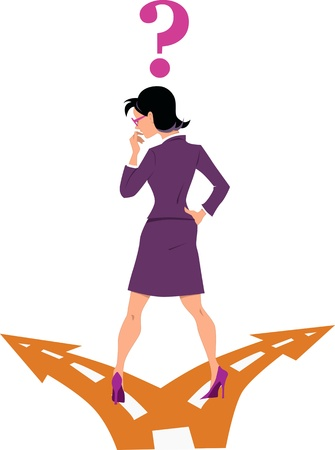 Illustration pour Businesswoman standing at the fork in the road, choosing between two options, question mark over her head - image libre de droit