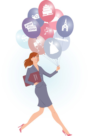 Energetic female wedding planner carrying balloons with wedding icons and a folder, vector cartoon