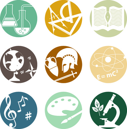 Illustration pour Set of circular icons with symbols of middle and high school subjects - image libre de droit