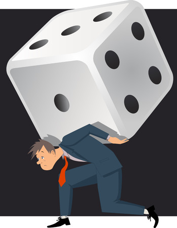 Problem gambling  Depressed man carrying a huge dice, vector illustration on gambling addiction
