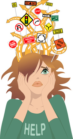 Tangled roads with confusing traffic signs coming out of a girl s head as a metaphor for attention deficit disorder