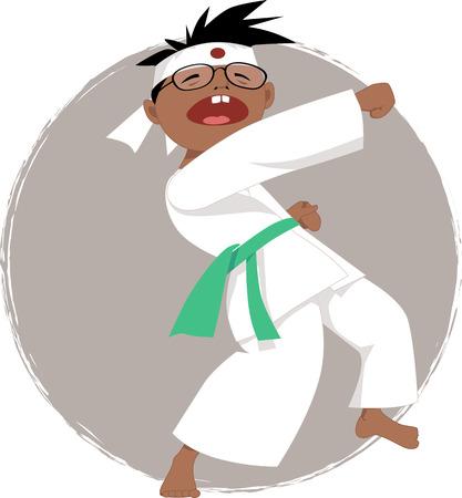 Black boy in glasses doing karate, vector illustration