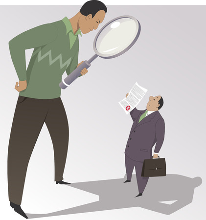 Read the fine print. Man with a giant magnifying glass studying a contract, shown him by a businessman, vector illustration, no transparencies