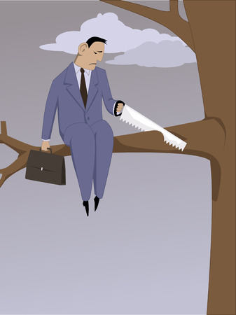 Self-sabotage. Depressed man sawing off a branch he is sitting on, vector illustration