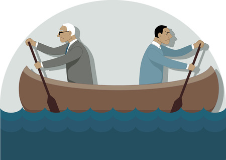 Two businessmen, one young and one older, rowing in the different directions in a canoe, vector illustration