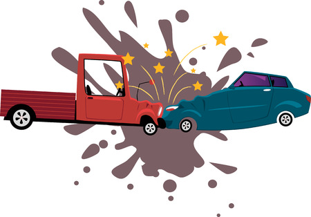 Pick-up truck collided with a sport sedan, vector cartoon, no transparencies, EPS 8
