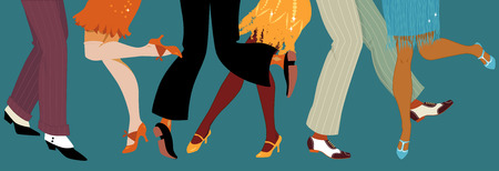 Line of men and women legs in 1920s style footwear dancing the Charleston vector illustration no transparencies EPS 8