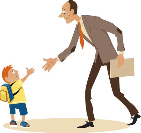 Little boy going to school and meeting a new teacher EPS 8