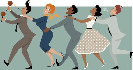Ilustración de Diverse group of people dressed in late 1950s early 1960s fashion dancing conga with maracas and party whistle, vector illustration, no transparencies, EPS 8 - Imagen libre de derechos