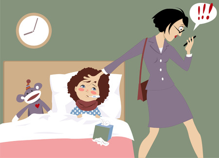 Illustration for working mother of a sick child receiving an urgent message on her phone, vector illustration, EPS 8 - Royalty Free Image