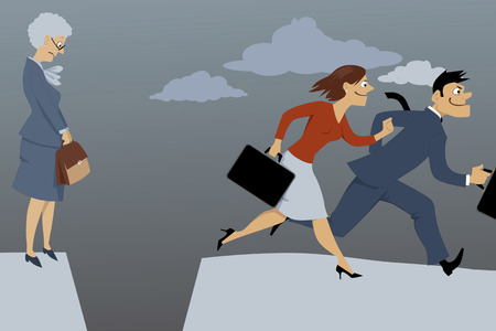 Vektor für Senior woman standing on the edge of the gap, separated her from competing younger employees, vector illustration, EPS 8 - Lizenzfreies Bild