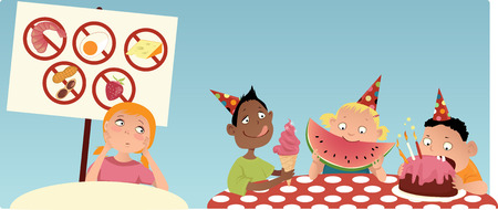 Allergic girl sitting at the separate table at the party, looking at the other kids eating food she\'s not allowed to have, vector illustration
