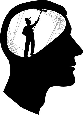 Male profile with a silhouette of a person, cleaning cobweb inside the brain