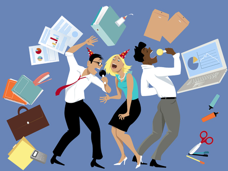 Three coworkers singing karaoke at the office party, surrounded by office tools and supplies,vector illustration