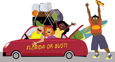 Illustration pour Group of college friends heading to Florida for a spring break in a car, EPS 8 vector illustration - image libre de droit