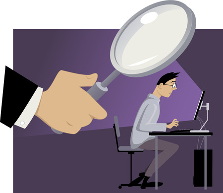 Giant hand with a magnifying glass shown behind the back of a man, working on his computer, EPS 8 vector illustration, no transparencies