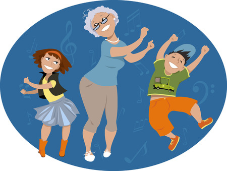 An older woman dancing with two grand-kids on a oval background with music notes, EPS 8 vector illustration