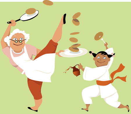 Grandmother and little girl in a kung fu stance eating pancakes, EPS 8 vector illustration