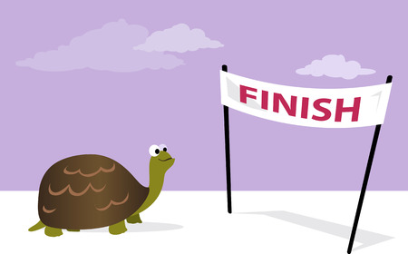 Illustration for Slow, but sure. Cartoon tortoise at the finish line, vector illustration, no transparencies - Royalty Free Image
