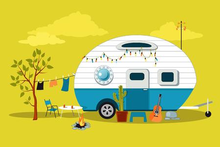 Foto de Cartoon travelling scene with a vintage camper, a fire pit, camping table and laundry line - Imagen libre de derechos