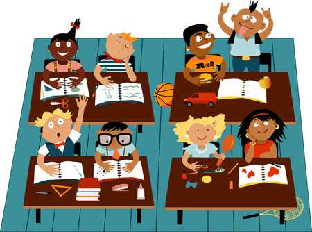 Photo for Elementary school classroom filled with diverse children characters, EPS 8 vector illustration - Royalty Free Image