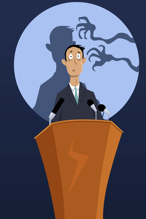 Illustration pour Creepy hands reaching the shadow of a man, standing on a podium, as a metaphor for a fear of public speaking, EPS 8 vector illustration, no transparencies - image libre de droit